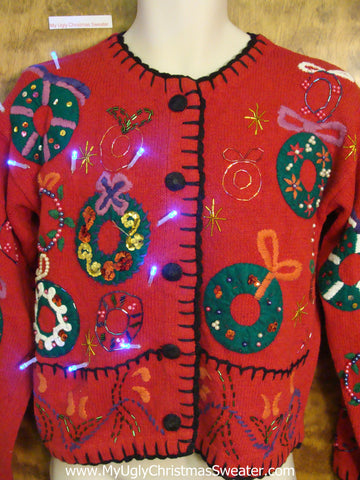 Festive Wreaths Red Tacky Xmas Sweater with Lights