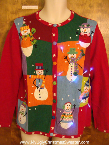 Patchwork Colorful Snowmen Tacky Xmas Sweater with Lights