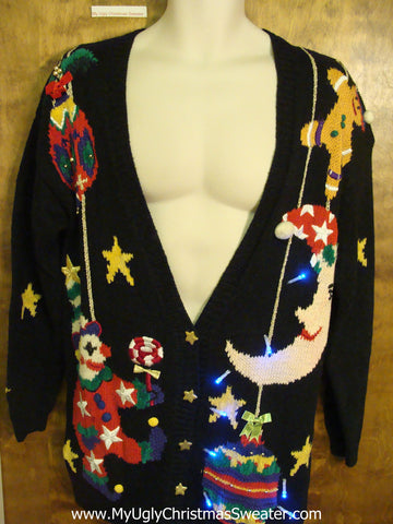 Scary Moon and Stars Tacky Xmas Sweater with Lights