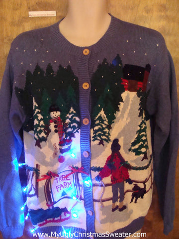 TREE FARM Winter Scene Tacky Xmas Sweater with Lights