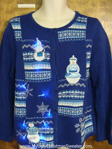 Blue Patchwork Snowmen Tacky Xmas Sweater with Lights
