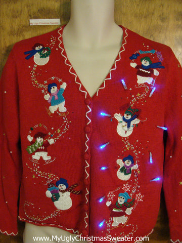 Sliding Snowmen Red Tacky Xmas Sweater with Lights