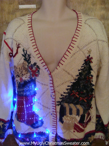 Ivory Knit with Stocking and Tree Tacky Xmas Sweater with Lights