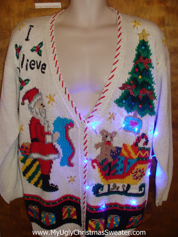 Funny 80s Old School Xmas Sweater with Lights