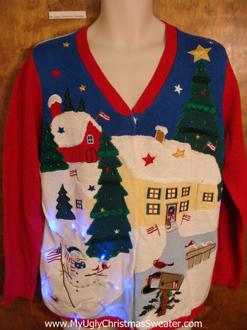 Best 2sided Patriotic Angel Tacky Xmas Sweater with Lights