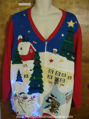 Snowman and Patriotic Angel Tacky Xmas Sweater with Lights