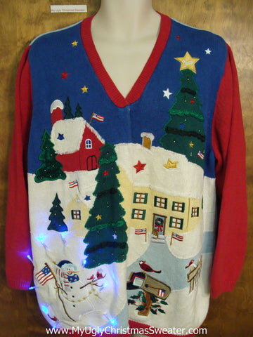 Blue 2sided Patriotic Angel Tacky Xmas Sweater with Lights