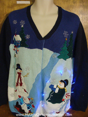 Snowman Magic 2sided Tacky Xmas Sweater with Lights