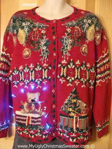 Tacky 80s Xmas Sweater with Lights Bear 2sided (g165)