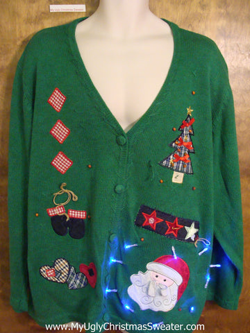 Big Size 3XL or 4XL Green Tacky Xmas Sweater with Lights