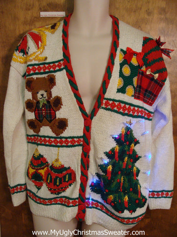 Colorful 80s Tacky Xmas Sweater with Bear and Candycanes and Lights