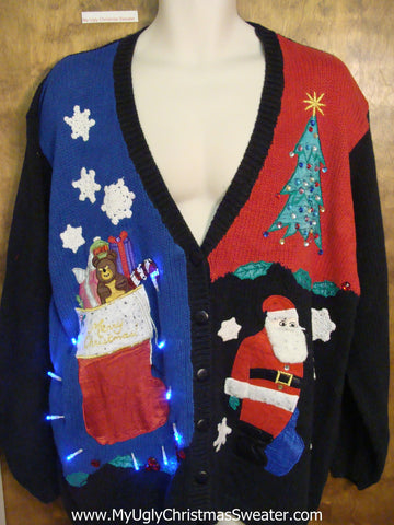 Big Size Colorful Tacky Xmas Sweater with Lights