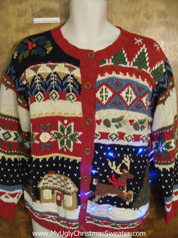 Busy Leaping Reindeer Tacky Xmas Sweater with Lights