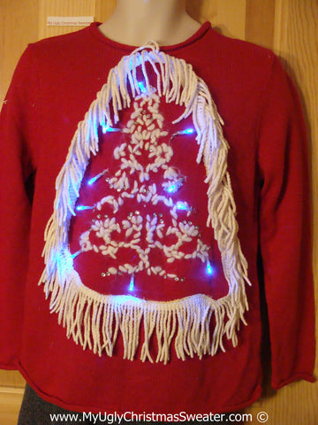 Tacky Red Xmas Sweater with Lights Tree with Dangling Fringe (g166)