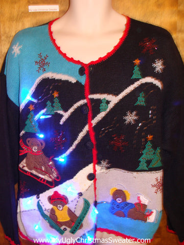 Teddy Bear Sledding Party Tacky Xmas Sweater with Lights