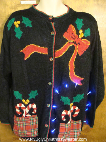 Funny 80s Mess with Bow and Candycanes Xmas Sweater with Lights