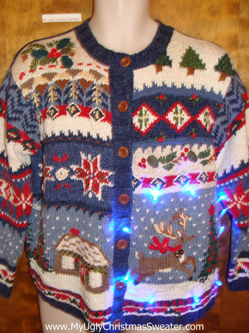 Holiday Mess with Reindeer Tacky Xmas Sweater with Lights