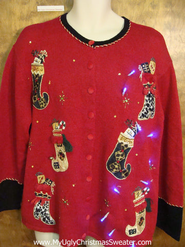 Funny Red 2sided Tacky Xmas Sweater with Stockings and Lights