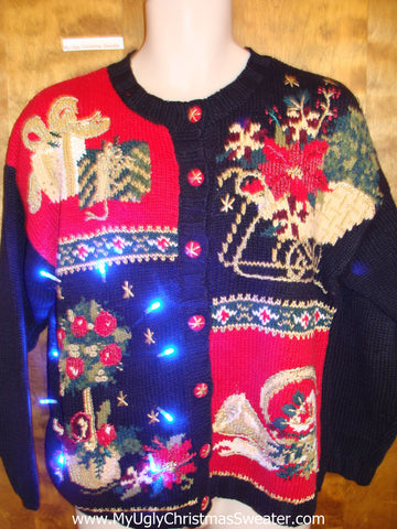 Horrible Gold, Red and Black Tacky Xmas Sweater with Lights