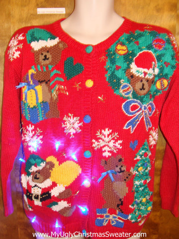 Amazing Funny Bears 80s Tacky Xmas Sweater with Lights