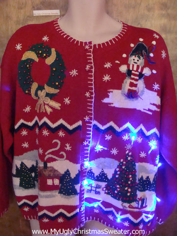 Red Sleepy Snowy Night Tacky Xmas Sweater with Lights