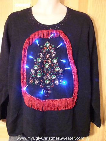 Tacky Xmas Sweater with Lights Huge Bling Tree with Fringe (g167)
