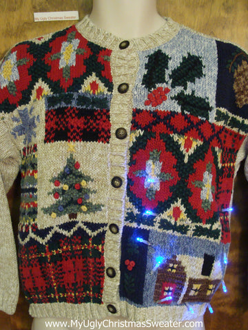 Tacky Blocks of Decorations Xmas Sweater with Lights