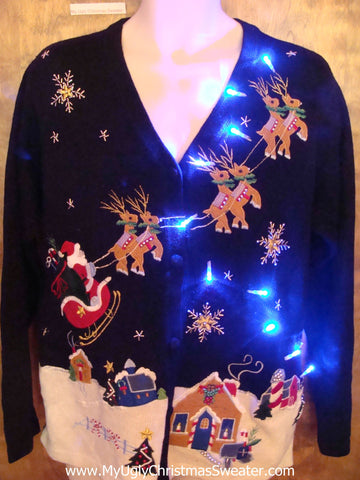 Best Flying Reindeer Tacky Xmas Sweater with Lights