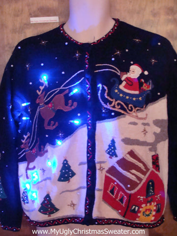 Best 2sided Flying Reindeer Tacky Xmas Sweater with Lights