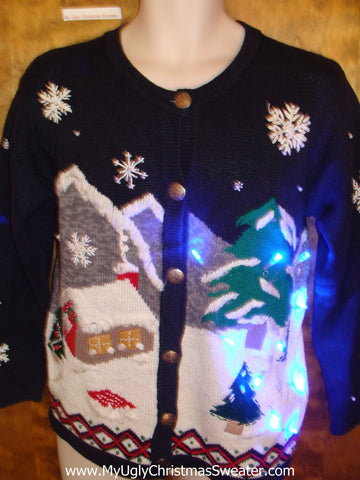 Cozy Winter Wonderland 2sided Tacky Xmas Sweater with Lights