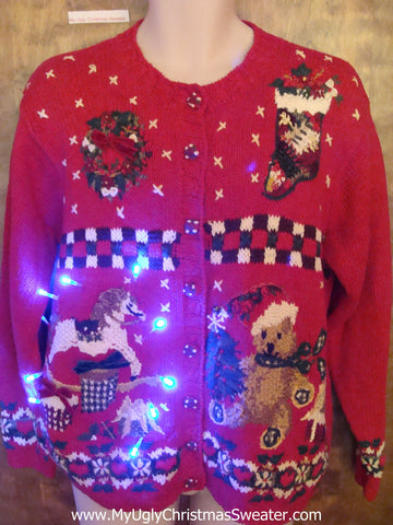 Busy Corny Tacky Xmas Sweater with Rocking Horse and Lights