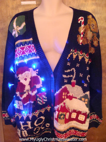 Big Size 80s Crazy Tacky Xmas Sweater with Lights