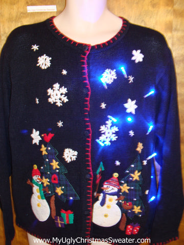 Happy Snowmen Friends Tacky Xmas Sweater with Lights