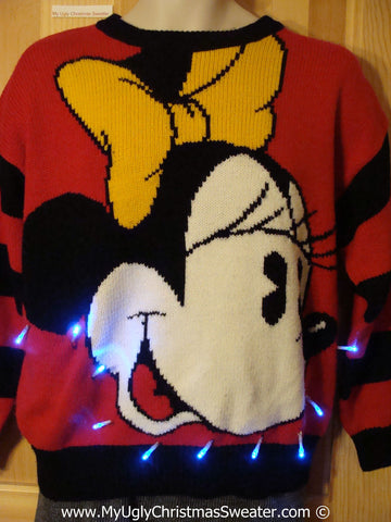 Minnie Mouse Tacky Xmas Sweater with Lights 80s Gem (g168)