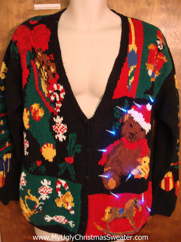 Best 2sided Teddy Bear Tacky Xmas Sweater with Lights