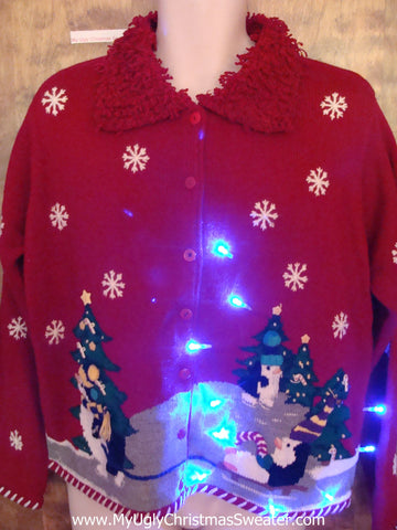 Sledding Penguin Party Tacky Xmas Sweater with Lights