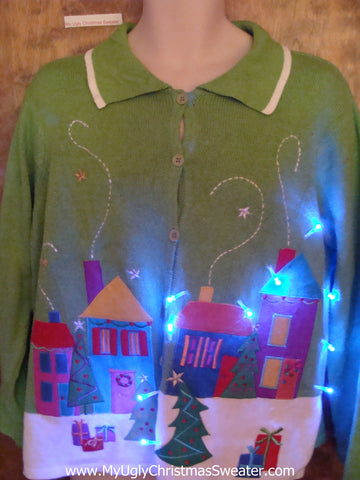 Green Colorful Town Tacky Xmas Sweater with Lights