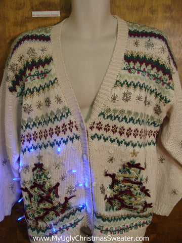 Crazy Geometric 80s Tacky Xmas Sweater with Lights