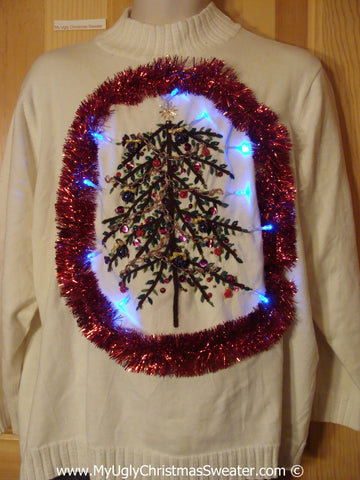 Tacky Xmas Sweater with Lights Huge Tree Red Garland (g169)