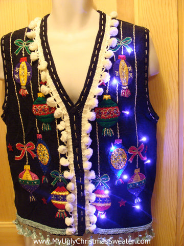 Tacky Ugly Christmas Sweater vest with Lights and Fringe (g16)