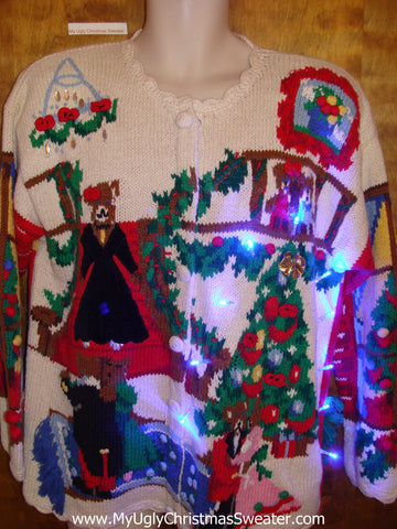 Dancing Bears 2sided 80s Light Up Ugly Xmas Sweater
