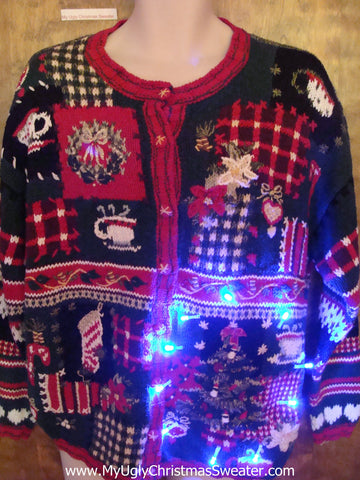 Geometric Mess from the 80s Light Up Ugly Xmas Sweater