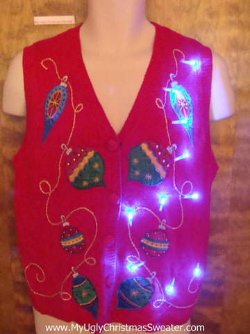 Light Up Red Ugly Xmas Sweater Vest with Colorful Ornaments