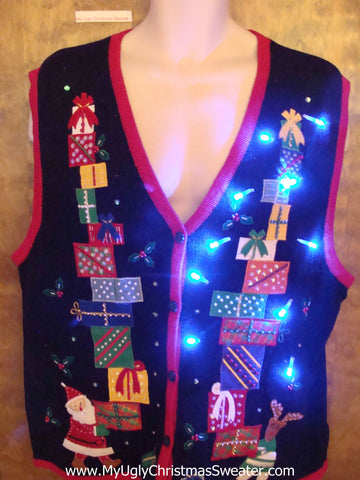 Santa and Stacks of Gifts Light Up Ugly Xmas Sweater Vest