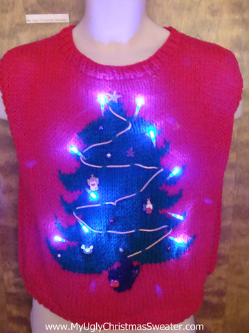 Homemade Knit Tree 80s Light Up Ugly Xmas Sweater Vest