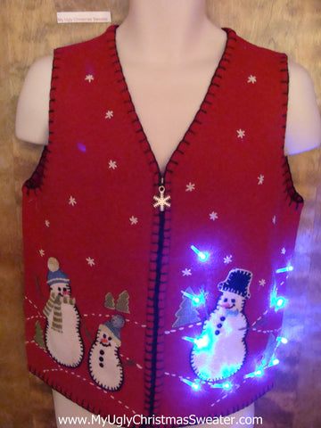 Snowman Trio 2sided Red Light Up Ugly Xmas Sweater Vest