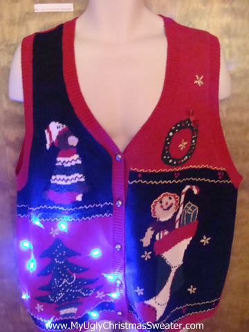 Four Quadrants of Tacky Stuff Light Up Ugly Xmas Sweater Vest