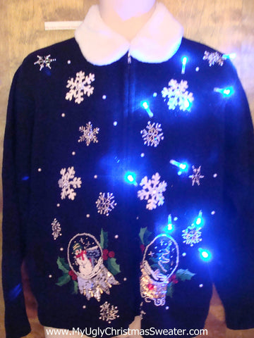 Snowglobes and Snowmen Light Up Ugly Xmas Sweater