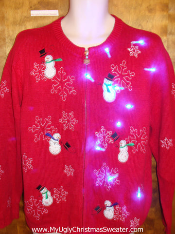 Snowmen in the Wing Red Light Up Ugly Xmas Sweater