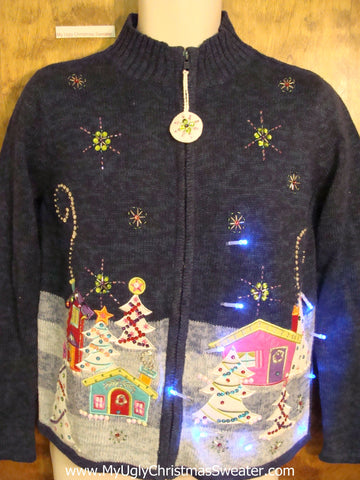 Pastel Pink House Light Up Ugly Xmas Sweater
